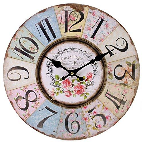 Shabby Chic Floral Patchwork Uhr–Vintage Wanduhren für Wohnzimmer, Schlafzimmer und Küche–Mehrfarbig Cute Retro Style Wanduhr