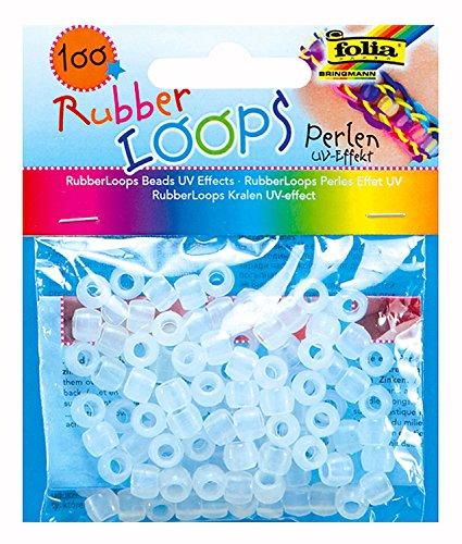 folia 33902 - Rubber Loops Perlen UV Effekt, transparent, 100 Stück
