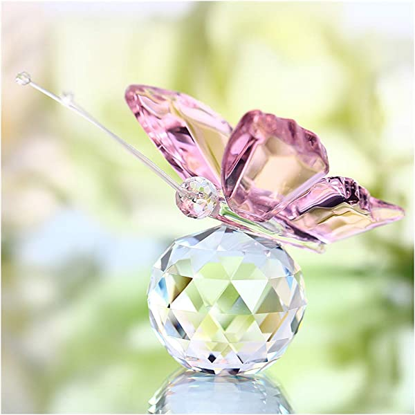 YUFENG Cute Crystal Flying Butterfly With Crystal Ball Base Figurine Collection Cut Glass Ornament Statue Animal Collectible Pink