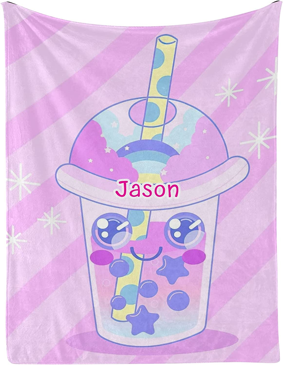 Cup Bubble Tea Stars New Free Shipping Personalized Name 30x40 Blankets with Wholesale Baby