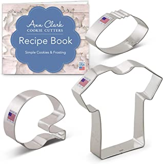 Ann Clark Cookie Cutters 3-Piece Football Cookie Cutter Set with Recipe Booklet, Football, Football Helmet, and T-Shirt