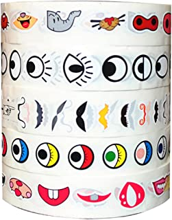 Eye Stickers Labels(5 Pack),Cute Decor Sticker Nose Mouth Moustache Colorful Eye Stickers Self Adhesive for Handmade Crafts Project and Home Decoration Coloring Sticker Toy
