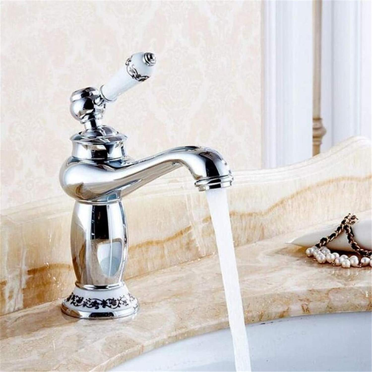 Retro Tap Modern Luxury Vintage Platingbathroom Basin Faucets Mixer Tap Ceramic Decoration Plating Single Handle Hot and Cold Deck Mount