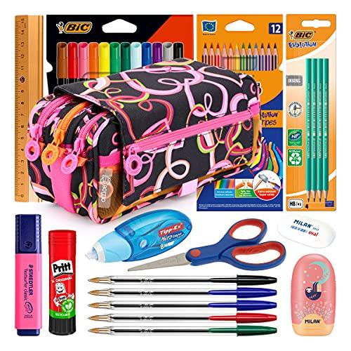 ColePack Lote de Estuche Portatodo Triple con 3 Cremalleras y Material Escolar de Primeras Marcas Incluido (Corazones)
