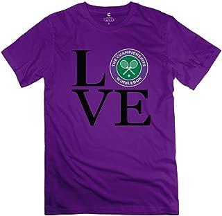 TASY Men's Love Tennis Love Wimbledon 100% Cotton T-Shirt White