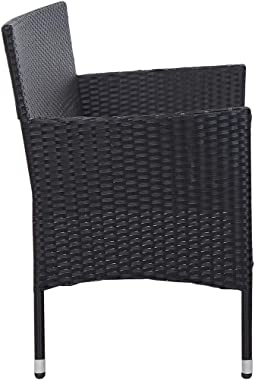 vidaXL 3-Seater Garden Sofa with Cushions Outdoor Patio Terrace Seating Seat Sitting Bench Chair Armchair Furniture Black Pol