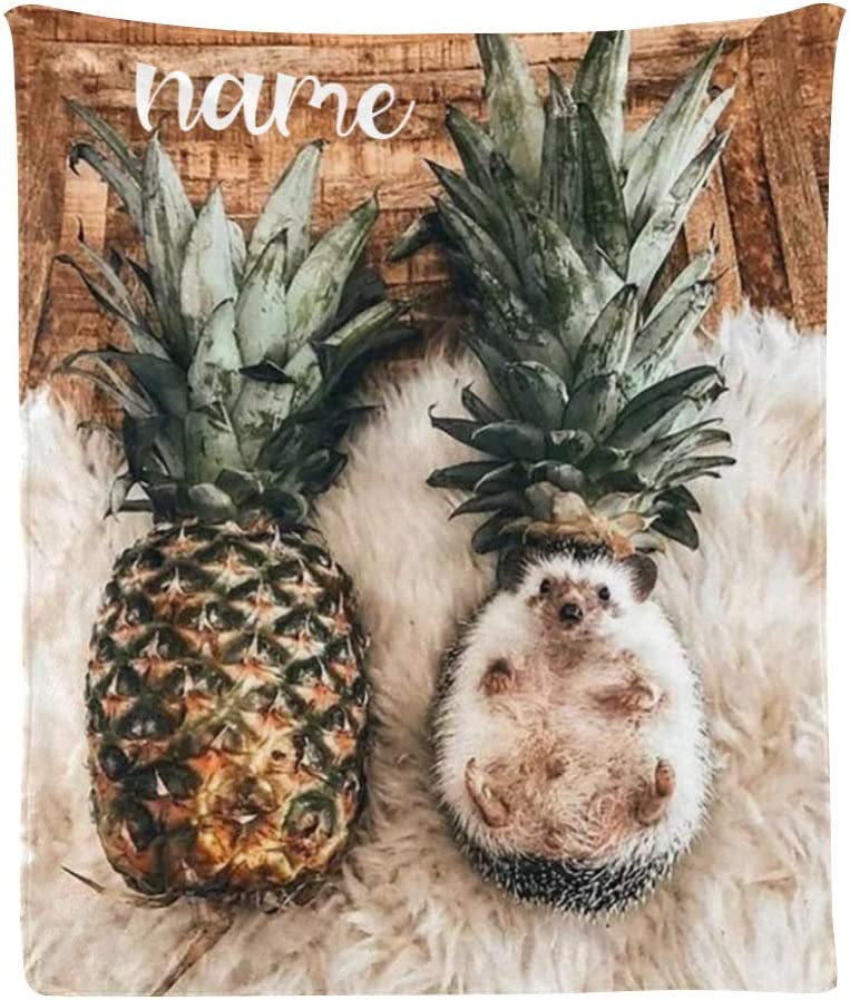 Custom Blanket with Name 『1年保証』 Text Hedgeh Cute Personalized 2020A W新作送料無料 Pineapple