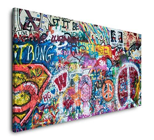 Paul Sinus Art Bunte John Lennon Wand in Prag 120x 60cm Panorama Leinwand Bild XXL Format Wandbilder Wohnzimmer Wohnung Deko Kunstdrucke
