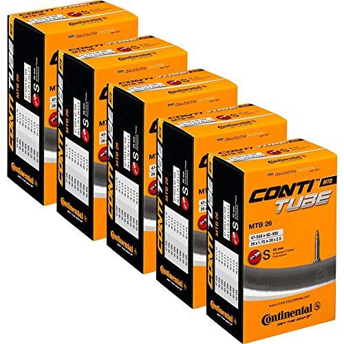 Continental Bicycle Tubes MTB 28 29 (1.75-2.25) Presta Valve 42mm Bike Tube - Value Bundle (Pack of 5) Bicycle Tube
