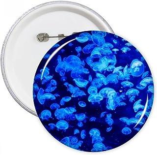 DIYthinker Sciences Bleu Nature Méduse Océan Photo Ronde Pins Badge Bouton Vêtements Décoration cadeau 5pcs Multicolore M