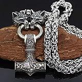 NICEWL Cuervos De Odin con El Martillo De Thor. Mjolnir Collar Colgante. Cadena De Cabeza De Lobo De Metal Vikingo. Mitología Nórdica. Hombres De Acero Inoxidable. Amuleto De Joyería Pagana,60cm