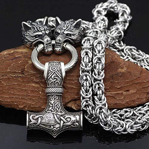 NICEWL Raben Von Odin Mit Thors Hammer Mjölnir Anhänger Halskette-Wikinger Metall Wolfskopf Kettenschnur, Nordische Mythologie Herren Edelstahl Pagan Schmuck Amulett (60CM)
