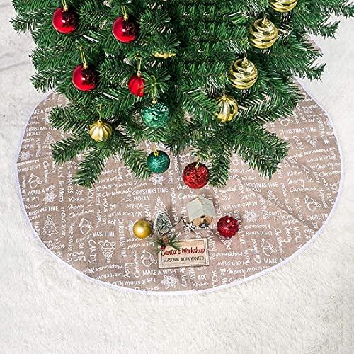 FSADGNO Falda de árbol de Navidad Carta Impresión de Dibujos Animados Hogar Actividades al Aire Libre Fiesta Decoración de Alfombra Creativa Cojín de árbol de Navidad Diámetro de la Falda: 80Cm