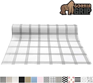 Gorilla Grip Original Smooth Top Slip-Resistant Drawer and Shelf Liner, Non Adhesive Roll, 17.5 Inch x 20 FT, Durable Kitchen Cabinet Shelves Liners for Kitchens Drawers and Desks, Stripe Gray White