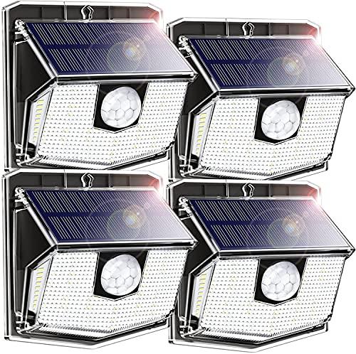 Luce Solare Esterno LED Luci Solari con Sensore di movimento 3 modalità IPX7 Impermeabile 1200mAh 270ºilluminare per esterni [4 Pezzi]