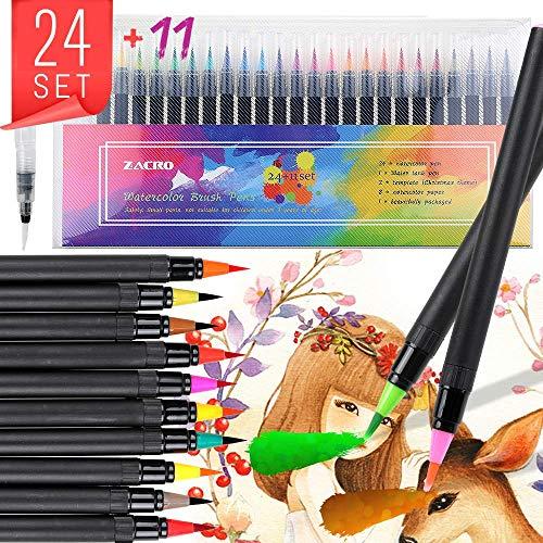 Zacro Premium Pinselstifte Set mit 24 Aquarell Farben, 1 Wassertankpinsel, 2 Zeichenschablonen, 8 Zeichenpapier, geeignet für Kalligraphie, Malen, Malbücher, Zeichnen und Schreiben
