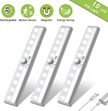 Under Cabinet Lighting, OxyLED USB Rechargeable Motion Sensor Closet Lights, Wireless Magnetic Stick-on Cordless 10 LED Night Light Bar for Closet Cabinet Wardrobe Stairs, 3 Pack