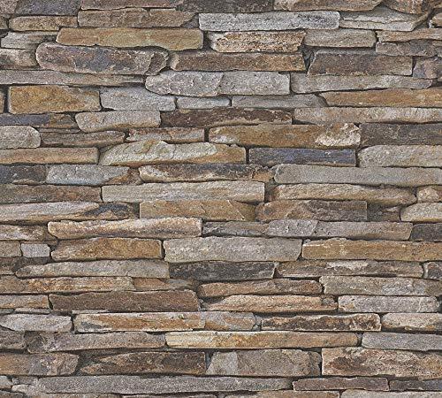 awallo Vliestapete in Naturstein Optik Tapete fotorealistische Steintapete Naturstein 10,05 m x 0,53 m braun grau Made in Germany 351203 3512-03