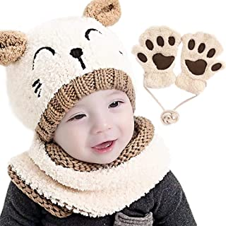 Gifort Bambino Cappello Inverno Sciarpa e Guanti 3 Pezzi/Set, Infantile Berretto a Maglia Caldo con Sciarpa a Cerchio Scal...