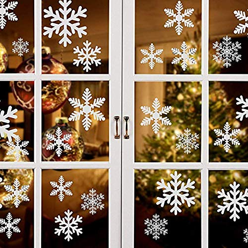 81pcs Multi-Size Snowflake Window Clings PVC Window Stickers for Christmas Decorations Holiday Windows Ornaments Xmas Party Decorations Winter Party Supplies