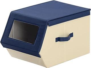 ぼん家具 カラーBOX 収納ケース 蓋つき ファブリック素材 マルチボックス 重ねて使える 〔窓あり〕 幅30cm ネイビー