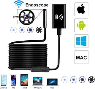 WiFi Endoscope Inspection Camera Snake Camera USB Semi Rigid Tube Waterproof 720P HD Wireless Endoscope Camera for Android/iOS Camera for Android and iOS Smartphone, iPhone, Samsung, Tablet(16.5FT)