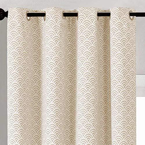 PimpamTex – Cortinas Jacquard Semi Opacas Bordadas, para Salón, Dormitorio y Habitación, con 8 Ojales, Diferentes Diseños, Modelo Chenilla – (140 x 270 cm, Sol Natural)