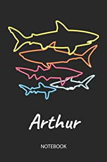 Arthur - Notebook: Blank Lined Personalized & Customized Name 80s Neon Retro Shark Notebook Journal for Men & Boys. Funny Sharks Desk Accessories Item ... School Supplies, Birthday & Christmas Gift.