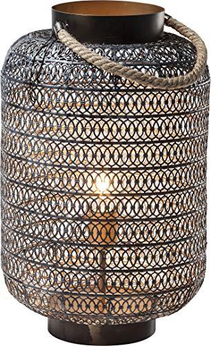 Kare Design Bodenleuchte Sultans Palace 47cm, Bodenlampe mit Kordelgriff, orientalische Tischleuchte, Schwarz (H/B/T) 47x30x30cm [Energieklasse A++]