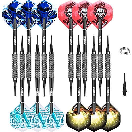 CyeeLife 12 Stück 12gr. Soft Dartpfeile Softdarts mit PVC Schäften, 30 Spitzen, 12 Flights und Flightringe aus Metall