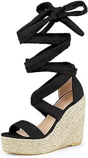Women's Espadrille Platform Wedges Heel Lace Up Sandals