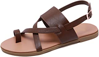 Stupmary Women Flat Sandals Cross-Tied Band Open Toe Flip Flops Thong Toe Buckle Strap Beach Slides