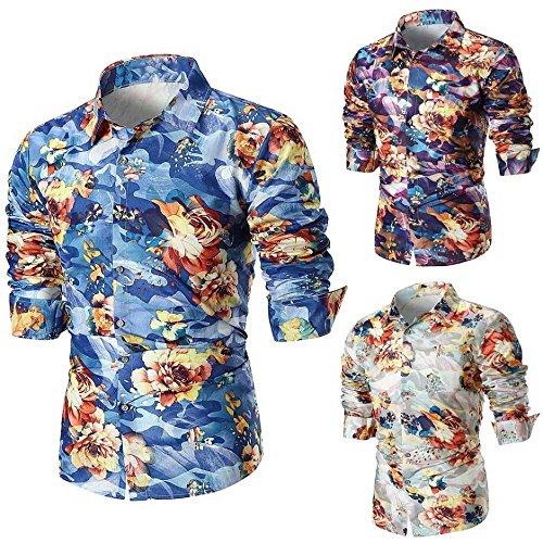 Camisas Vestir Casual Hombre,Camisetas Hombre Personalidad,Camisa de Manga Larga Slim Casual Hombre...