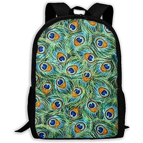 Grüner Stoff Pfauenfedern Laptop Bookbag, Business Bag Travel, wasserdichte Anti-Diebstahl-College-Schultasche