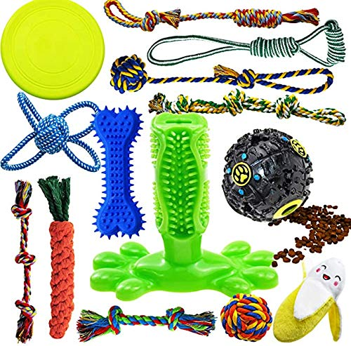 YCHOULEK Dog Chew Toys for Puppies Teething, 14 Pack Dog Rope Toys Tug of War Dog Toy Bundle Toothbrush iq Treat Ball Squeaky Rubber Bone Durable Dog Chew Toys