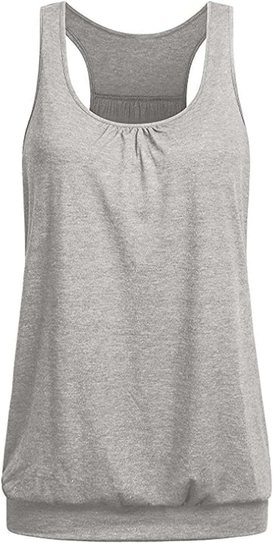 Branded Fashionable goods Smileyth Women Crewneck Sleeveless Tank Racerba Tops Color Solid