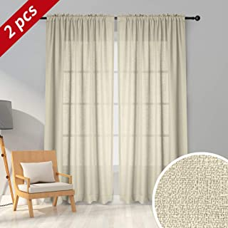 Melodieux Beige Semi Sheer Curtains 84 Inches Long for Living Room - Linen Look Bedroom Rod Pocket Voile Drapes, 52 x 84 Inch (2 Panels)