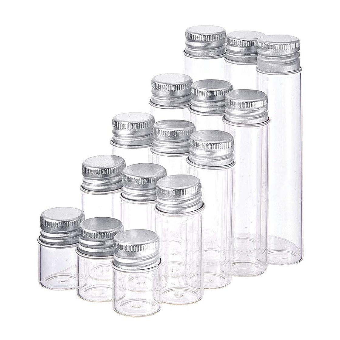 測る怒りケントBENECREAT 15個ガラスボトル 5つサイズ アルミ蓋つき 透明ガラスボトル ガラス小分けボトル パーツ?小物入れボトル スパイスボトル