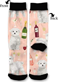 BLongTai Knee High Compression Socks Funny White Dog for Women and Men Sport Crew Tube Socks