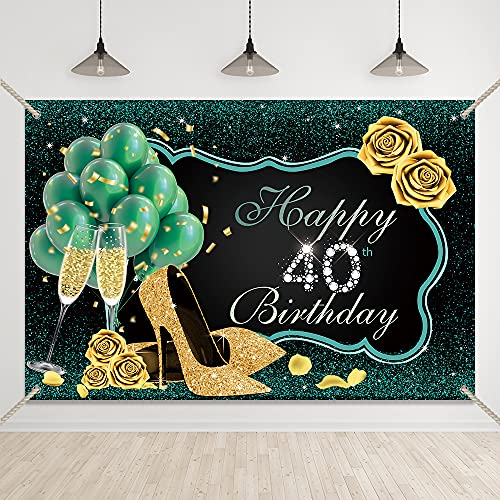 Bellimas Happy 40th Birthday Backdrop Green and Black Women Birthday Party Background High Heels Gold Rose Forty Birthday Prom Party Supplies Banner with Copper Grommets