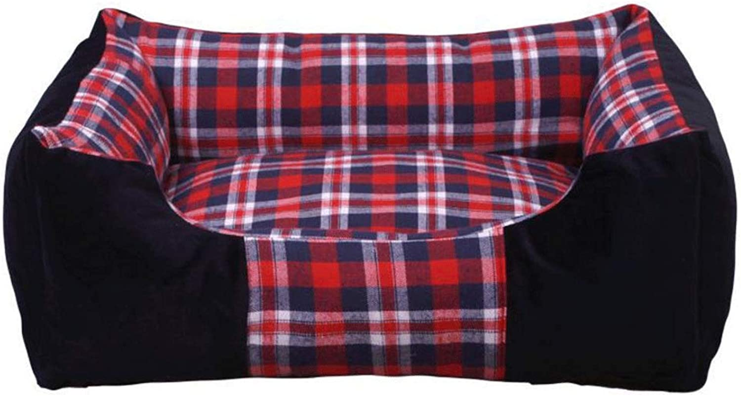 Hongyan Pet Beds Square Plaid Thickening Warm And Resistant To Tear Bite Removable And Washable golden Retriever Dog Pad Warm Pet Nest A+ (color   RED, Size   L (63X43x18CM))