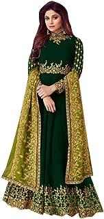 Dark Green Georgette Indian Bollywood Fashion Floor Lenght Anarkali Salwar Kameez Diwali Festival 19