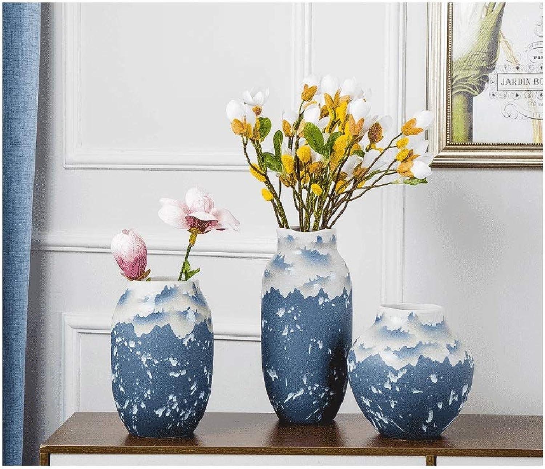 YJWOZ Vase en céramique Fait Main Décoration de décoration Fait Main Trois pièces Vase (Taille   17×25cm)