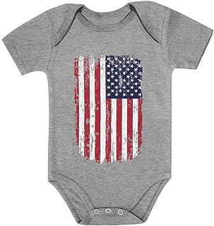 Tstars USA Vintage Flag 4th of July American Flag Baby Bodysuit