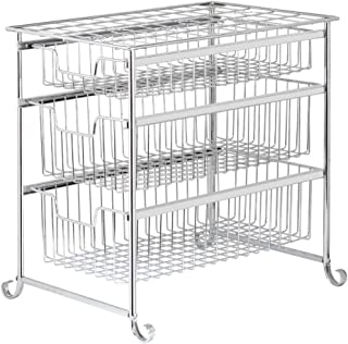 Sliding Drawers Basket Storage Organizer, 3 Tier Under Bathroom Kitchen Sink Organizer Cabinet Mesh Sliding Basket Storage Shelf, Sliver