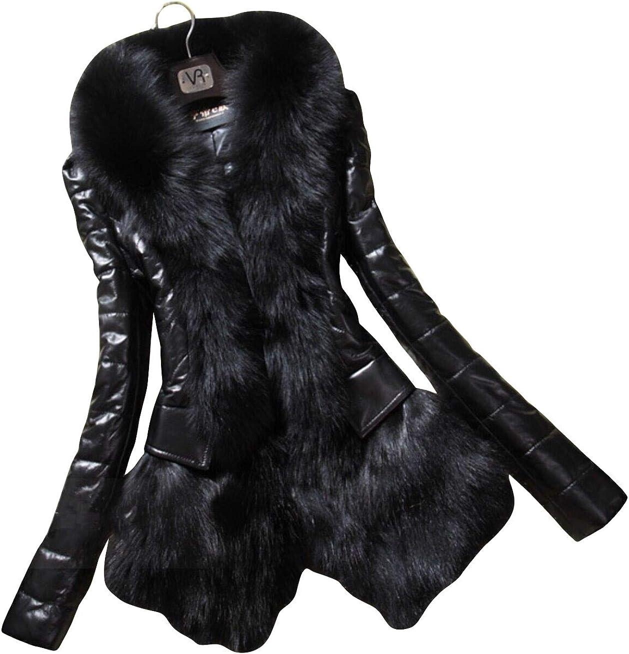 CHARTOU Women's Shawl Collar Faux Fur PU Leather Mid Long Windproof Coat Outwear