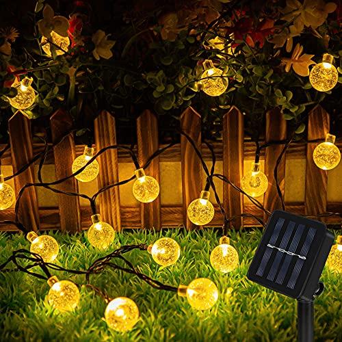 Guirnalda Luces Exterior Solar 60 LED 8M Cadena Solar de Luces - IP65 Impermeable 8 Modos,  Guirnaldas Luces Solar LED Bola de Cristal Luces para Exterior,  Interior,  Jardines,  Boda,  Fiesta,  Casas