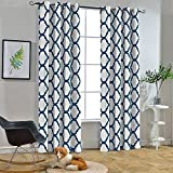 Melodieux Moroccan Fashion Thermal Insulated Grommet Room Darkening Curtains for Living Room, 52 by 84 Inch, Off White/Navy (1 Panel)