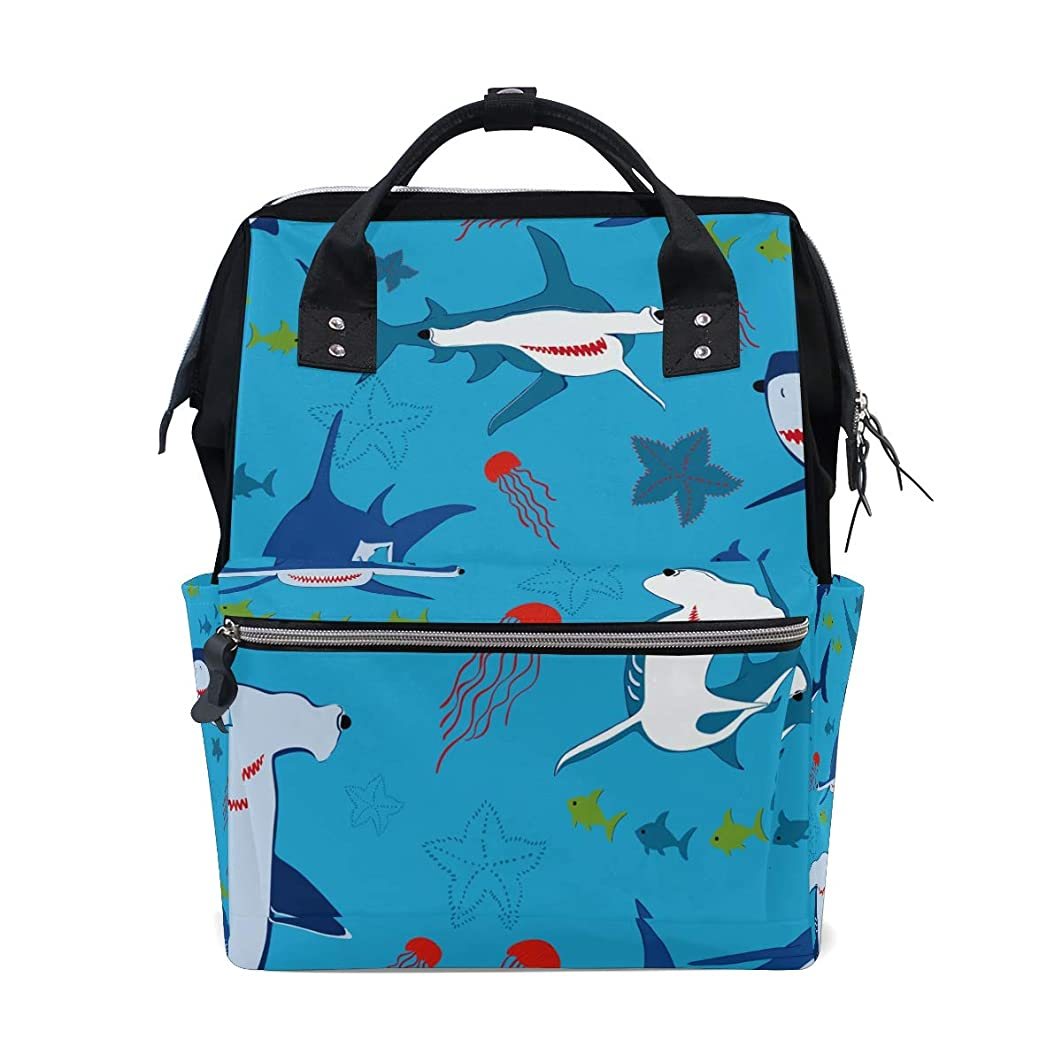 Blue Sharks Jellyfish School Backpack Large Capacity Mummy Bags Laptop Handbag Casual Travel Rucksack Satchel For Women Men Adult Teen Children