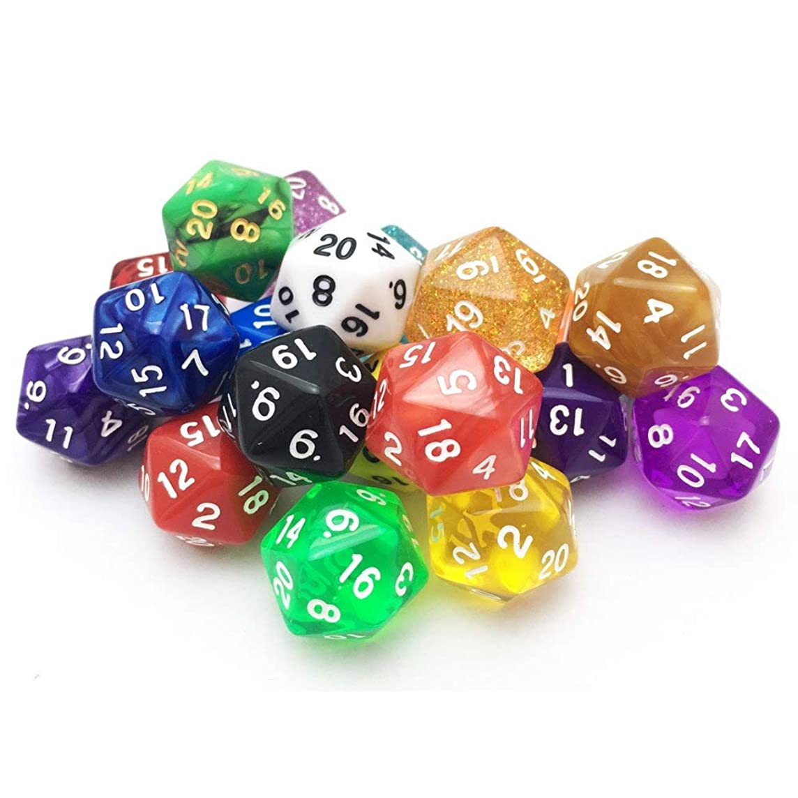 Smartdealspro 10 Pack of Random Color D20 Polyhedral Dice DND RPG MTG Table Games